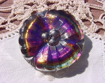 Royal Blue Rainbow Platinum Pansy Czech Glass Button