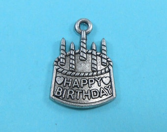 6 Happy Birthday Charms Silver Tone Birthday Cake Candles (S007-cnt)