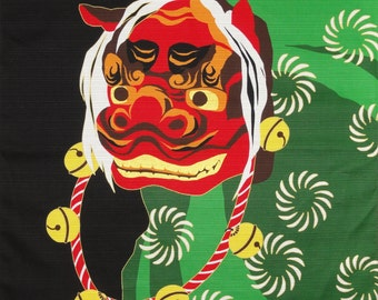 Furoshiki Shishimai Lion Dance Cotton Japanese Fabric w/Free Insured Shipping