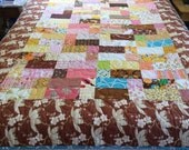 Large Child Size Quilt. Patchwork Toddler Blanket Bed Quilt, Ready To Ship. Rare Designer Fabrics, Warm Tones. One of a Kind.  Custom Avail.