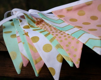 Mint, Pink, Metallic Gold Fabric Bunting Flag Banner, Garland Bunting.  Chevrons, Dots, Party, Wedding Decor, Kids Room, Shower