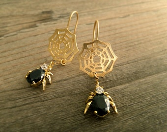 Black Spider Web Jewelry Earrings - Halloween Earrings - 16K Gold Plated Earrings - Black Onyx Faceted Glass - Gift for Her - Birthday Gift