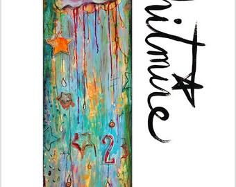 "Print- ""Long Happy Cloud"" - Mixed Media Art, Clouds, Rainbows, Kids Room Decor, Joyful"