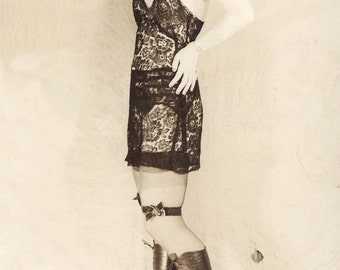 vintage photo Print 1918 Pin up Glamour Gal Sexy Boudoir Negligee Garter Belt Lace Boots Risque Lady