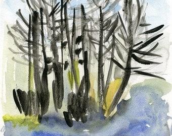 ORIGINAL work / TREES at the lake // watercolour  water scenery   spring activities   ooak