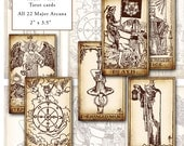 Rider-Waite Printable Tarot Card Set digital collage sheet altered art greeting card 2x3.5 50mm x 89mm