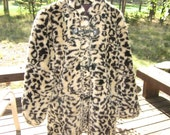 Leopard Print Faux Fur Coat - Size Large - Vintage 1980's by Carly of Monterey