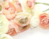 20 Mini Ranunculus in Peachy Pink Tones and White - silk flowers, artificial flowers, millinery, flower, flower crowns - ITEM 0125