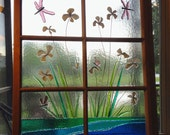 Custom Dragonfly Iris Flower Fused Glass Antique Window Frame with Dragonflies