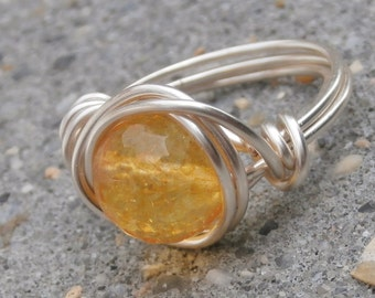 Citrine Ring, November BIRTHSTONE JEWELRY, Silver Citrine Rings with Faceted Stone, Choose Your Size 6, Size 6.5, Size 7 Rings, Honey Yellow