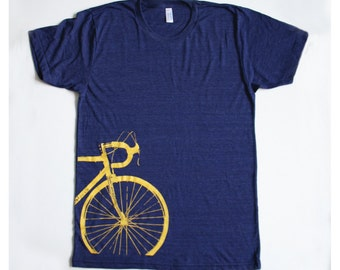 Bike T-shirt Men's / Unisex Yellow Road Bike Screenprint