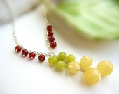 Gemstone Cluster Necklace - silver cascading y necklace, canary yellow, olive green jade, red carnelian - Martini