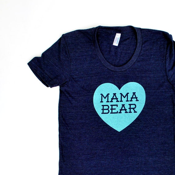 Mama Bear with Heart Women's TriBlend Heathered Navy Blue TShirt with Aqua Blue print