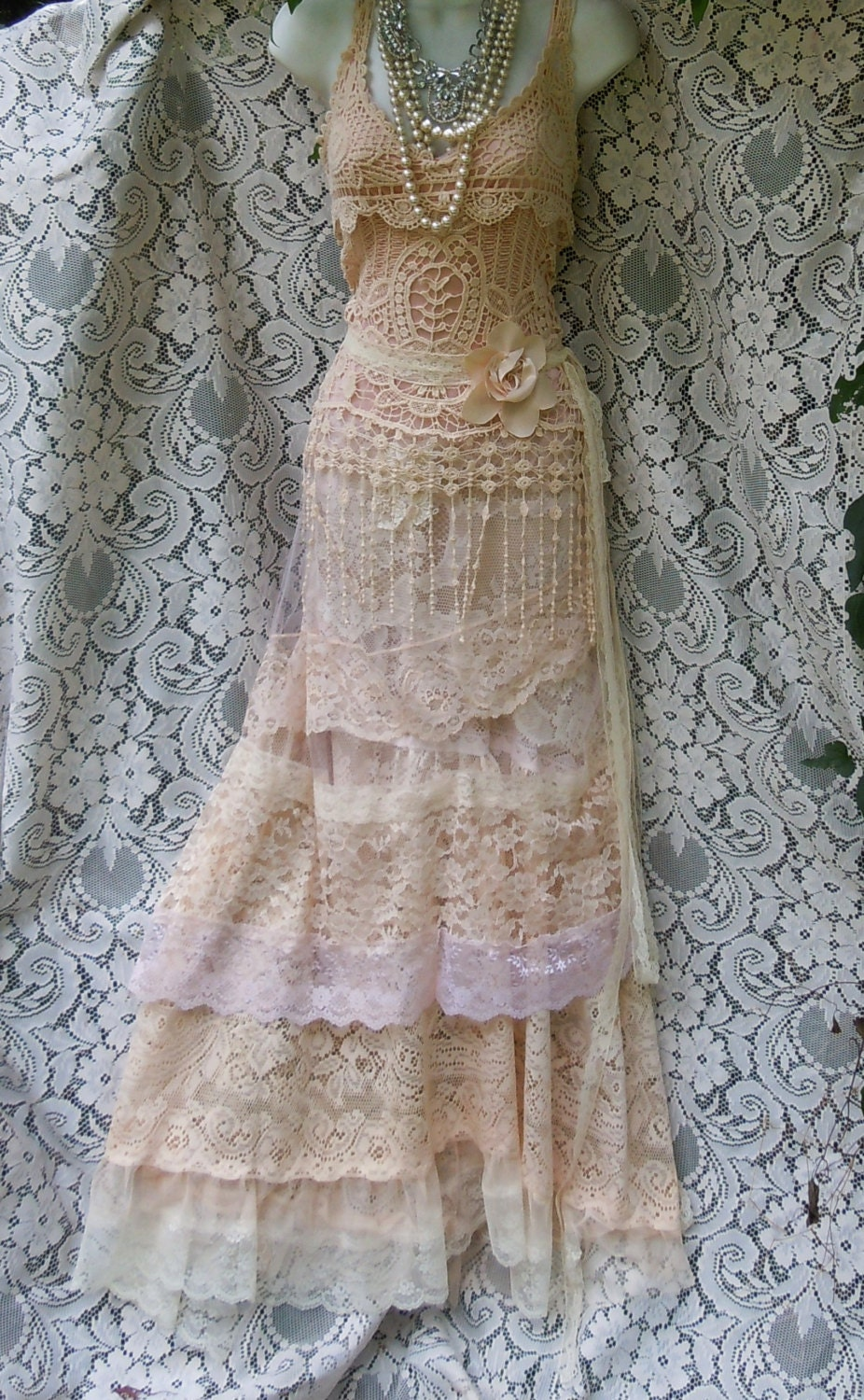 ON SALE Cream wedding dress boho mermaid crochet lace vintage