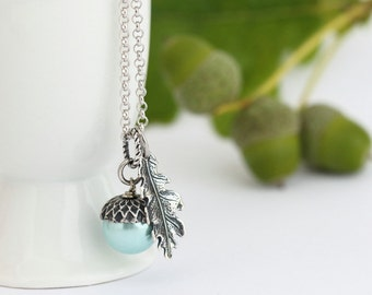 Pale Aqua Pearl Acorn Necklace With Antique Silver Oak Leaf Charm on Rhodium Plated Sterling Silver Chain, Gift For Mom, Girlfriend Gift