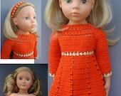 Crochet American Girl 18 inch doll Retro DRESS crochet pattern (V5)