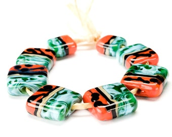 Handmade Lampwork Glass Tile Beads Orange Caribbean Blue Green Graduated Set of 8