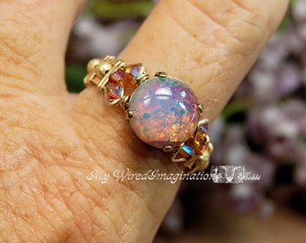 Pink Opal Vintage West German Glass Ring Handmade Wire Wrapped Original Signature Design Fine Jewelry October Birthstone