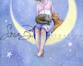 Princess Art Print with Cats Moon Crest and Stars