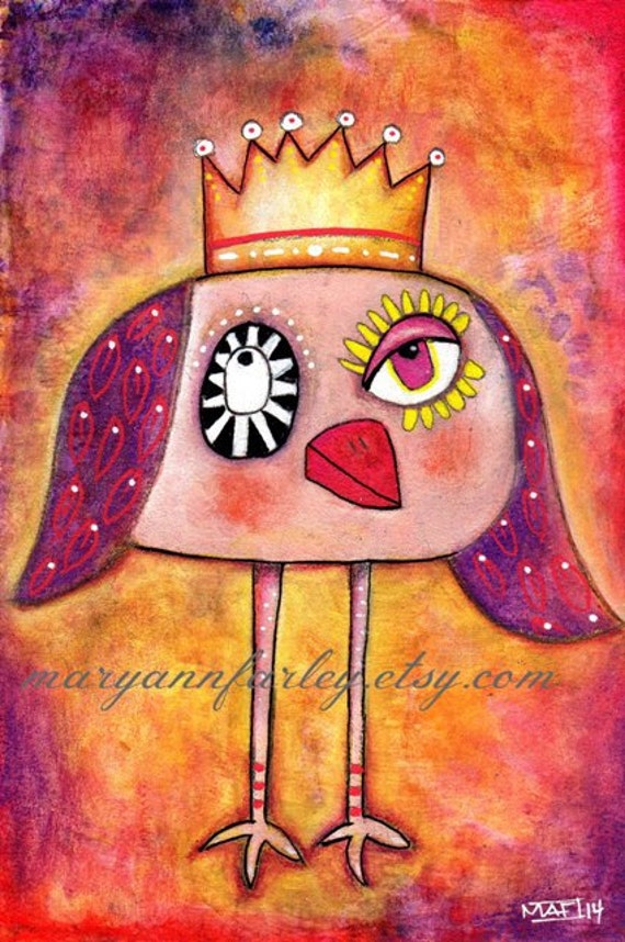 Owl Art Print, Whimsical Bird With Crown, Storybook Illustration, 6 x 9, 5 x 7.5, Mixed Media, Red Purple Pink Orange Yellow