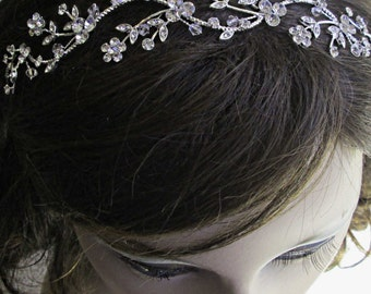 Sale, Wedding Headband, wedding Hair Accessory,  Bridal Hair vine, Flower hair band, Silver Hairpiece, Crystal Head Piece, Bridal head band