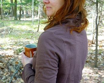 fleece cowl sweatshirt tunic -- made to order