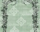 Digital Download Frame Border, Trellis with flowers and foliage digi stamp, Antique Illustration Add Photos or Text, Floral Digital Transfer