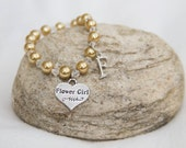 Flower Girl wedding party personalized initial charm jewelry flowergirl charm bracelet gold pearl beads