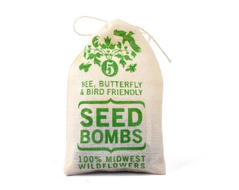 Wildflower Seed Bombs - Midwest Bird Bee and Butterfly Friendly DIY Guerrilla Gardening Seeds Seed Balls