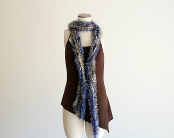 Skinny, Fuzzy Boa Scarf Hand Knit in Blue, Yellow, White, Purple. SEVEN FEET Extra LONG Scarf