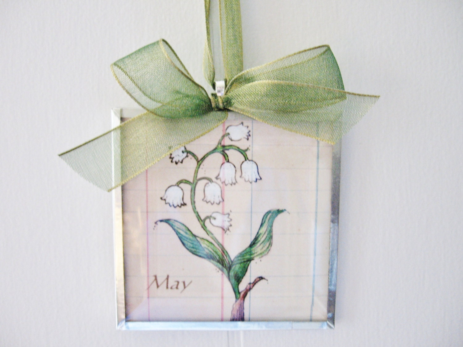 May Birth Month Flower Lily of the Valley 3x3 Beveled