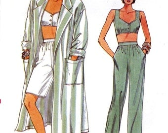 Bra top coat shorts pants pattern vintage 80s sewing pattern Vogue 9563 Retro fashion Sz 8