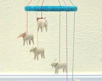 Made to Order - Small Cascading Rainbow Mini Sheep Mobile - Needle Felted Nursery Decor