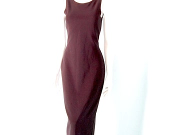 Vintage 90s Long Black Body Con Dress