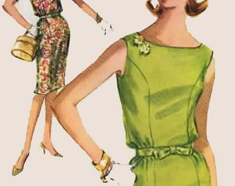 1960s  Sheath Dress with Bateau Neckline McCalls 6181  Vintage 60s Mod Madmen Vintage Sewing Pattern Size 12 Bust 31