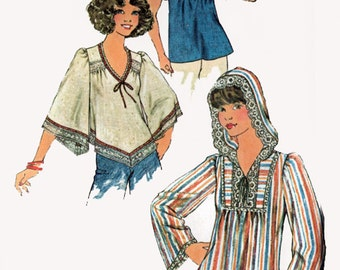 Vintage 1970s Hooded Blouse Sewing Pattern Simplicity 7811 70s Boho Sewing Pattern Size 12 Bust 34 UNCUT