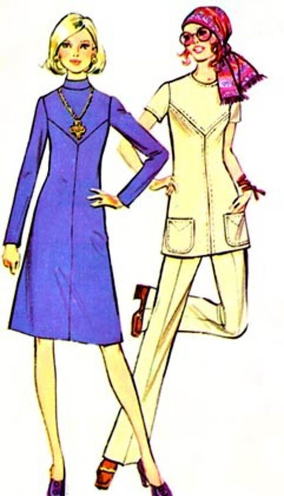 70s MOD A Line Dress or Tunic McCalls 2952 Womens A Pounds Thinner pattern Vintage Sewing Pattern Size 10 (32.5-24-34.5)