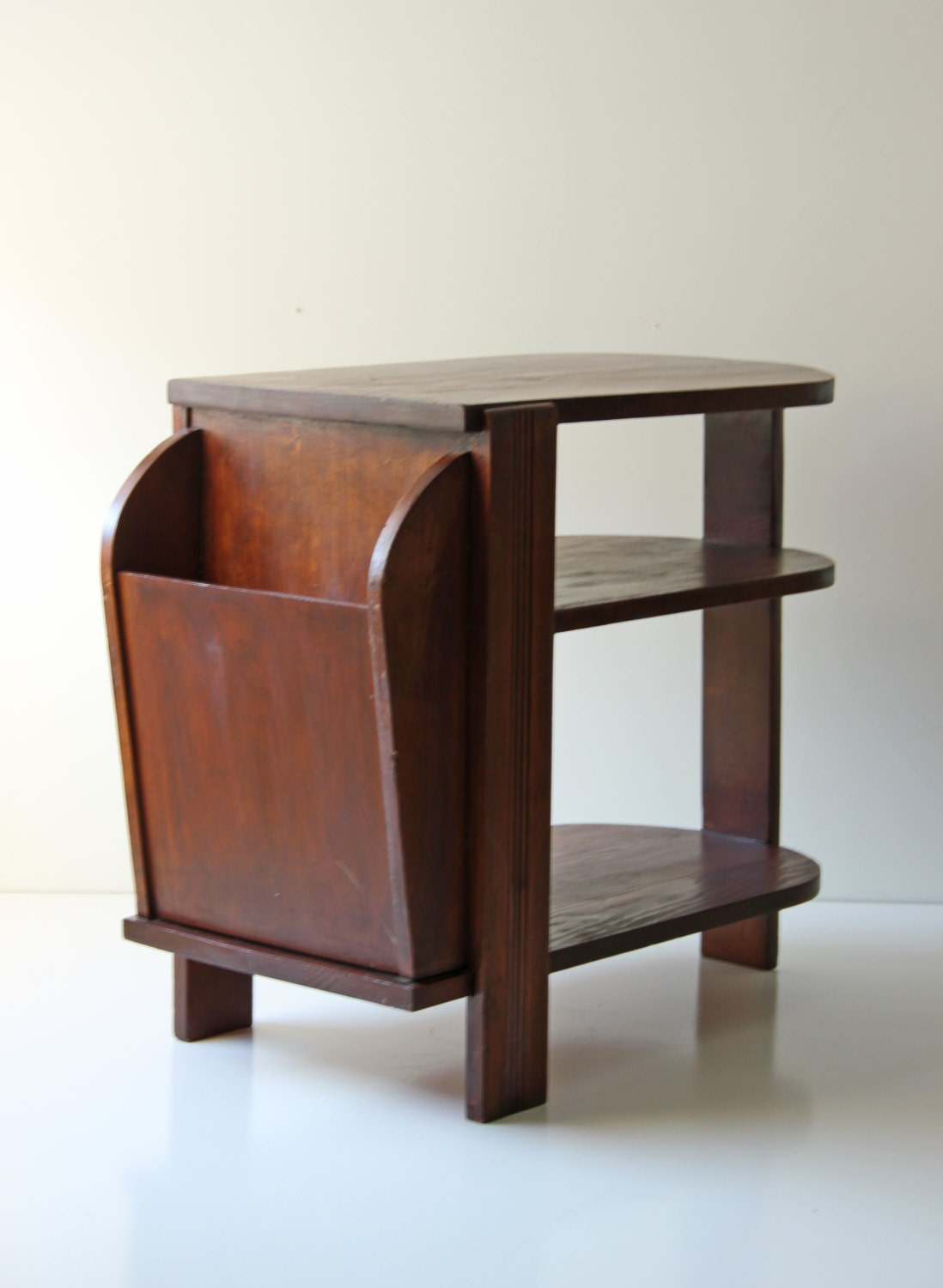 vintage mahogany side table magazine rack