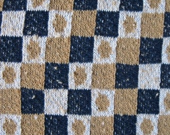 1960's square and dot checkerboard patterned fabric, french terry jersey knit, extra wide, almost 4 yards