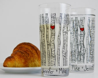 Personalized Birch Tree Glassware - Set of 2 Everyday Drinking Glasses Valentines Day Glasses