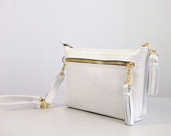 Handmade Pearlescent White Leather Purse Clutch Bag