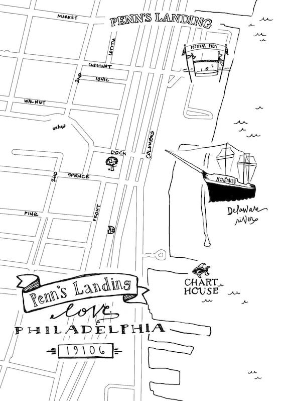Penns Landing Hand-Drawn Map Philadelphia 8x10