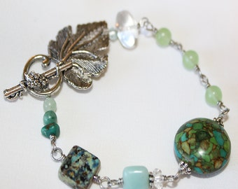 Mosaic Turquoise Bracelet, Green Quartz, Amazonite, Quartz, Grape Leaf, Wine Lover, Ready To Ship, Emma, Wishes and Dreams Collection