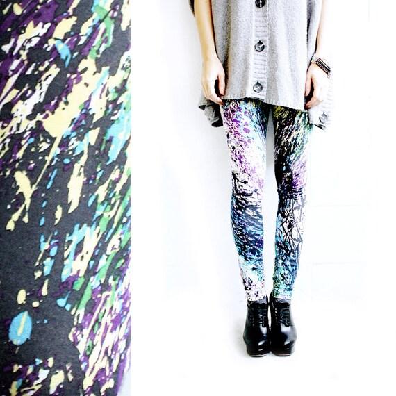 Splatter Print Leggings - Cotton Jersey - S or M