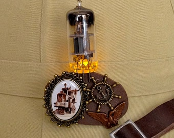 Neverwas Haul jewelry - electronic fire steampunk vacuum tube pin - glow in the dark jewelry - Neverwas Haul jewelry
