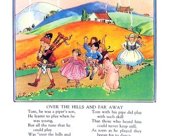Over The Hills and Far Away - Mother Goose Rhyme - 1944 Vintage Page 7.5 x 8