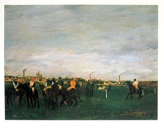 Edgar Degas - The Races - French Impressionist Art - 1977 Large Poster Sized Print 12 x 15