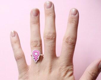 Pink Slime Venus Feminist Adjustable Ring