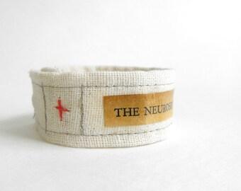 Psychology Bracelet ~ Cotton Fabric Bracelet with Text ~ Handmade Experimental Jewelry by Luluanne