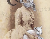 victorian art print by kitty valentine - ram mother & child